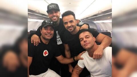 Desde la izquierda, Chayanne, Nicky Jam, Luis Fonsi y Ricky Martin dentr...