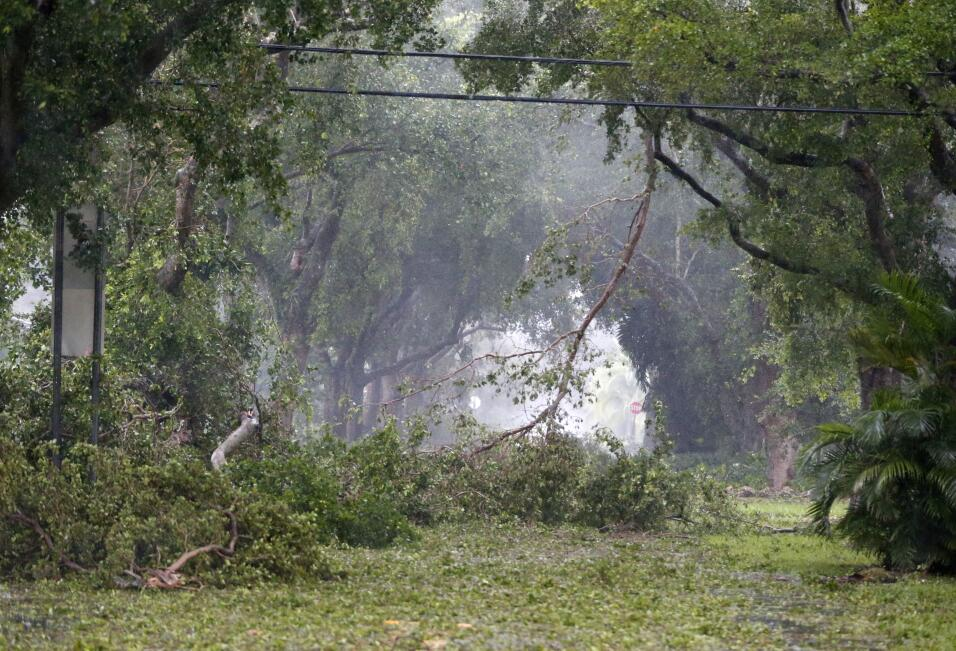Debris fills the tree-lined streets of a residential area, Sunday, Sept....