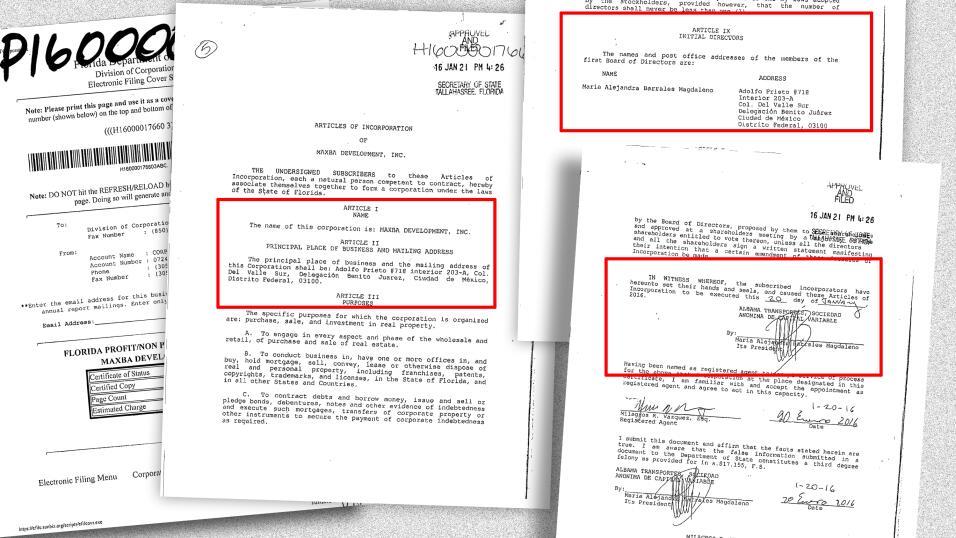 El departamento en Miami se compró a través de Maxba Development Inc., u...