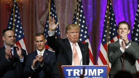 Donald Trump en su discurso en Mar-a-Lago, en Florida