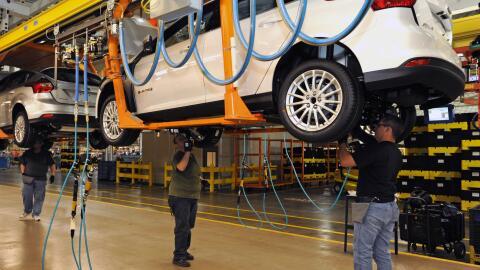 Línea de ensamblaje del Ford Focus en Wayne, Michigan.