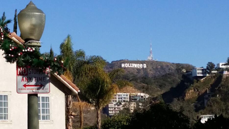 Imagen del letrero de Hollywood como 'Hollyweed' tomada por un v...