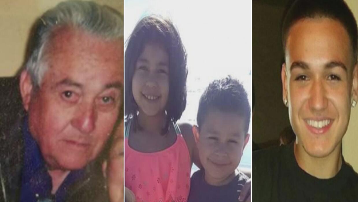 Juan Pérez, de 83 años, los hermanos Vanessa y Aiden Hermo...