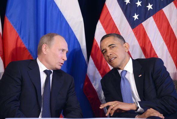 El presidente de EU, Barack Obama, y de Rusia, Vladímir Putin, encontrar...