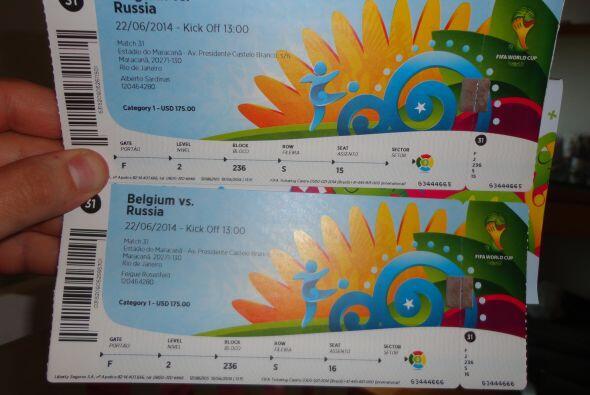 Un recuerdo maravilloso: las entradas a los juegos del Mundial Brasil 2014.