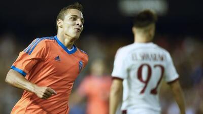 Rodrigo le marcó un gol a los 'rossoneri'.