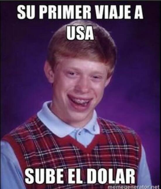 Su primer viaje a USA y sube el dólar