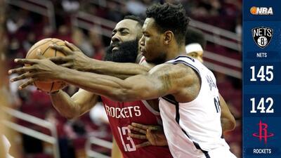 Harden anota 58 puntos, pero los Rockets pierden ante los Nets en tiempo extra
