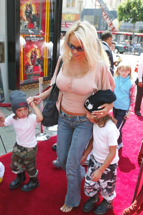 Pam Anderson with her sons Dylan and Brandon at the premiere of ' Sp...