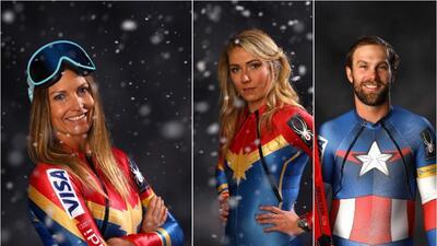 El Team USA de esquí entrena en los Olímpicos con trajes de superhéroes
