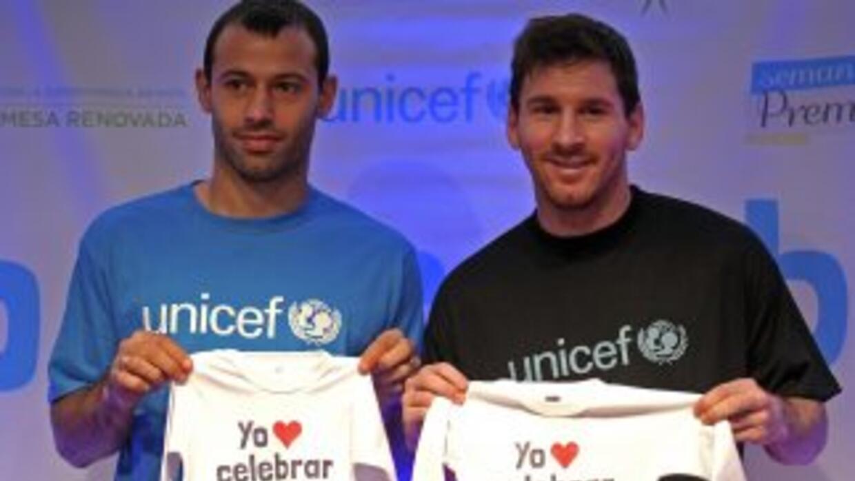 Lionel Messi en una actividad de Unicef