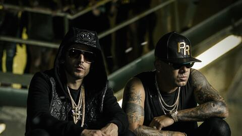 Yandel y Wisin en el set del video 'Como antes'.