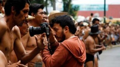 Rubén Espinosa durante una marcha que cubría como fotoperiodista. Fotogr...