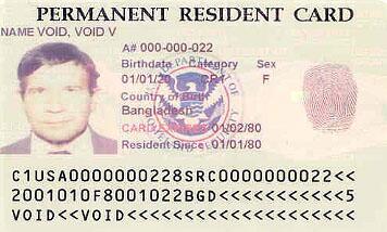 Tarjeta de residencia permanente en EEUU.