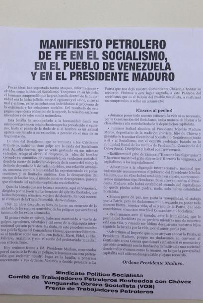 El oficialismo publicó un Manifiesto Petrolero. Foto tomada por:...