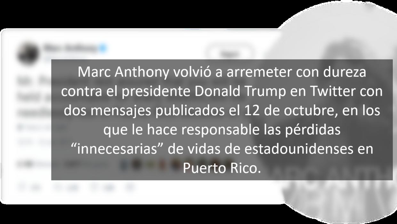 Los mensajes de Marc Anthony y Donald Trump en Twitter.