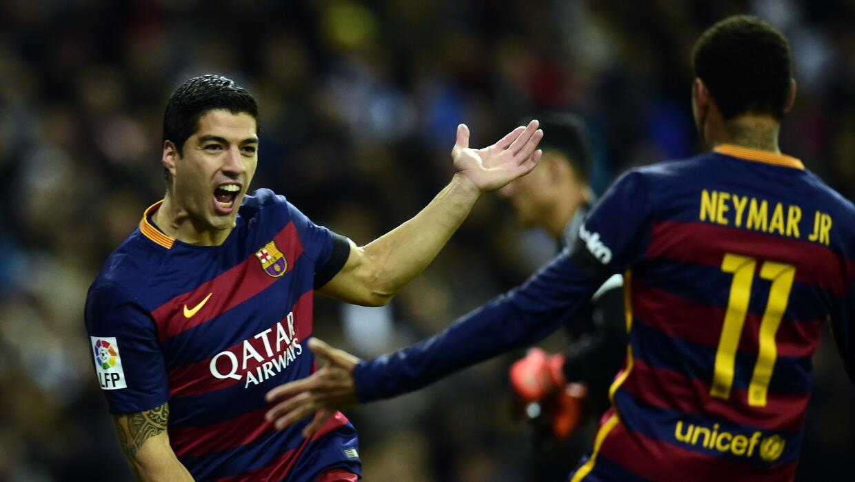 Luis Suárez celebra el primero de sus dos goles ante Real Madrid.
