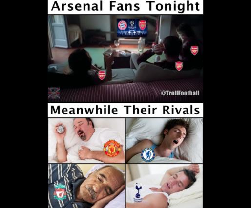 La dura goleada del Bayern sobre el Arsenal en los memes más divertidos...