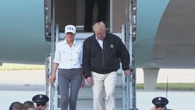 Presidente Trump hace un recorrido por las áreas devastadas por el huracán Michael