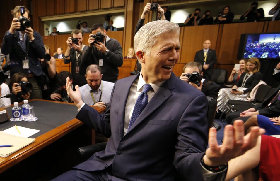 El juez Neil Gorsuch durante su audiencia en el Senado.