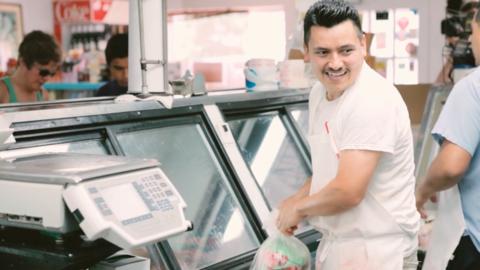Butcher Gerardo 'Tolo' Martínez in a scene from A Good Butcher.