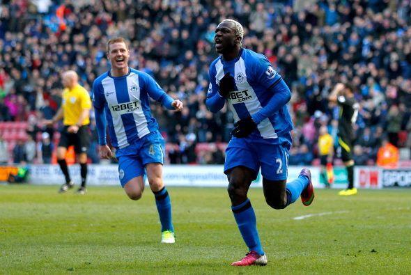 Kone fue el autor del gol del Wigan ante Norwich para sumar tres puntos...