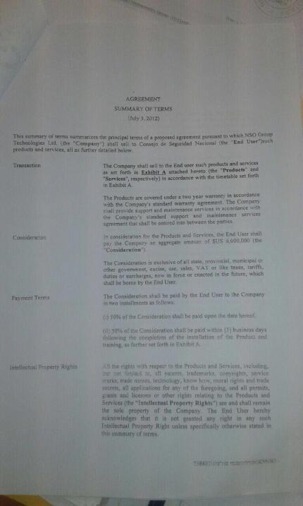 Términos del contrato entre el gobierno de Martinelli y NSO Group para l...