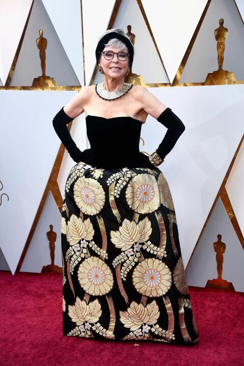 Rita Moreno fue a la 90 edición de los Oscar con el mismo vestido que lu...