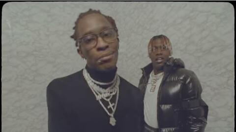 Rappers Young Thug (left) and Lil Yachty (right) rap in a screenshot fro...