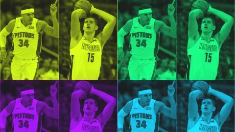 Tobias Harris de los Pistons y Nikola Jokić de los Nuggets.