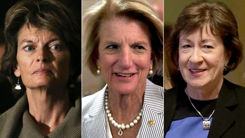 Senadoras republicanas Lisa Murkowski, de Alaska; Shelley Moore Capito,...