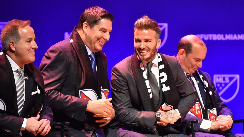 Los empresarios Jorge Mas Santos, Marcelo Claure, David Beckham y José M...