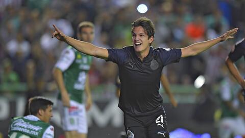 Así festejó el delantero rojiblanco luego de abrir el marcador ante León.