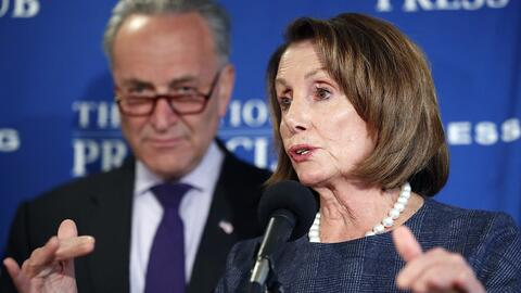 House Minority Leader Nancy Pelosi and Senate Minority Leader Chuck Schu...