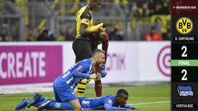 ¡Ni con Sancho en casa! Hertha detiene el arrollador paso del Dortmund en la Bundesliga