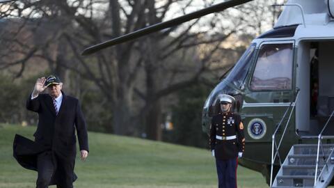 Donald Trump llegando a la Casa Blanca en helicóptero
