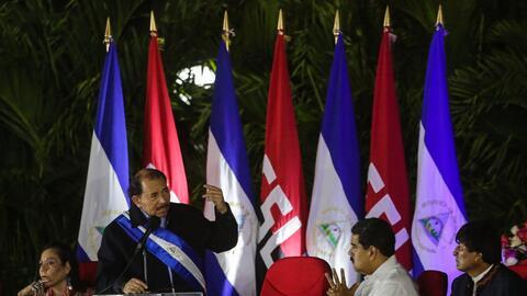 Ortega, en el día de su investidura, habla ante Nicolás Ma...