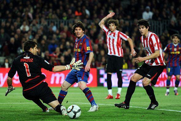 Messi buscó el gol para continuar con su seguidilla de anotados.