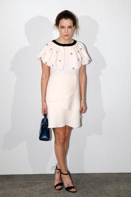 US actress Riley Keough poses before the Christian Dior fashion show dur...