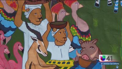 Estudiantes pintan un mural inspirado en África en el Zoológico de San Antonio