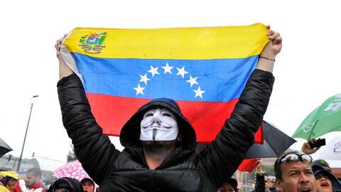 Manifestación de venezolanos en Bogotá contra la elecci&oa...