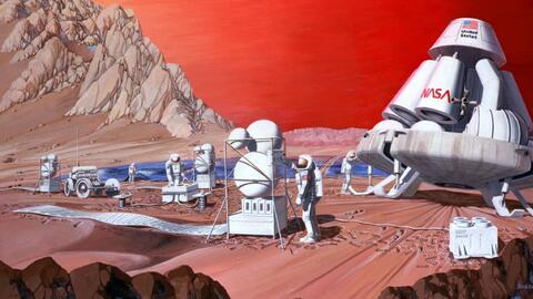 Un dibujo artístico de 1989 representa la colonización en Marte.