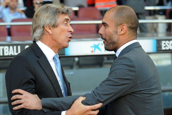 Hubo un cordial saludo entre Pallegrini, DT del Málaga, y 'Pep' Guardiola.