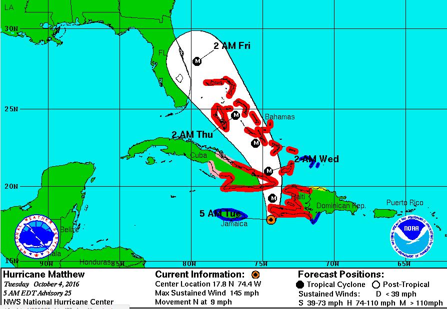 The track of Hurricane Matthew threatens western Haiti and eastern Cuba,...