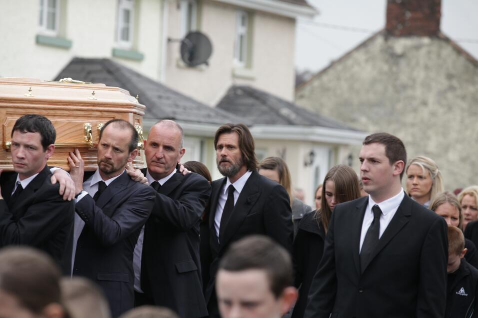 Jim Carrey en el funeral de Cathriona White