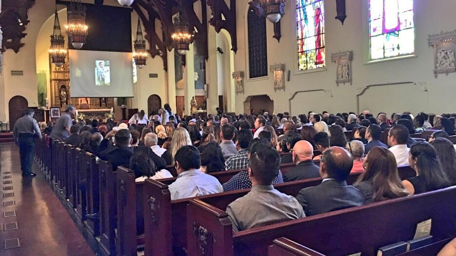 Misa de cuerpo presente en la Iglesia de la Sagrada Familia de South Pas...