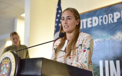 La tenista Mónica Puig en Puerto Rico junto con la rusa Maria Sha...