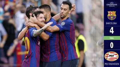 Tremenda pegada del Barcelona y exhibición de Messi para un contundente 4-0 al PSV