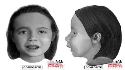 Reconstrucción facial de la niña hallada en Texas