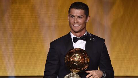 Cristiano Ronaldo Balón de Oro en la ceremonio de 2015.